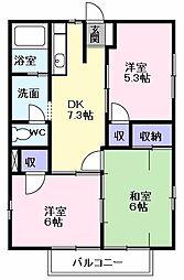 ルミナスナカヤ B棟[2階]の間取り