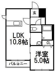 北海道札幌市豊平区中の島一条3丁目の賃貸マンションの間取り