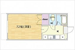 JR山陽本線 西川原駅 徒歩8分の賃貸アパート 3階1Kの間取り