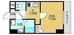 Osaka Metro今里筋線 太子橋今市駅 徒歩5分の賃貸マンション 7階1Kの間取り
