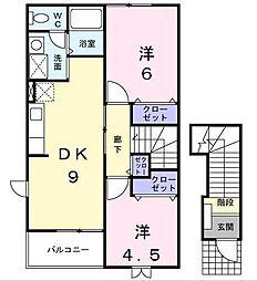 [大東建託]アヴェニール B[2階]の間取り