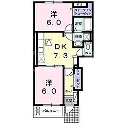 三重県名張市希央台5番町の賃貸アパートの間取り