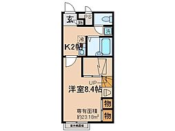 京都府宇治市五ケ庄岡本の賃貸アパートの間取り