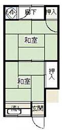 大阪府枚方市川原町の賃貸アパートの間取り