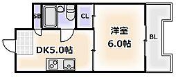 大阪府大阪市浪速区桜川1丁目の賃貸マンションの間取り