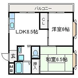 大塚チェリーハイツ12[301号室]の間取り