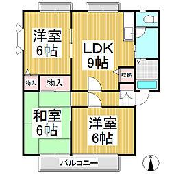 サンビレッジ更埴 A・B棟[1階]の間取り