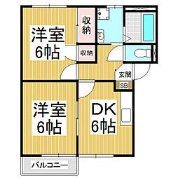 New Espace 1階2DKの間取り
