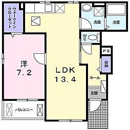 レヴェランスB[1階]の間取り