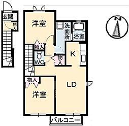 メゾンド フルールB棟[2階]の間取り