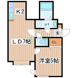 北海道札幌市東区北二十二条東15の賃貸アパートの間取り