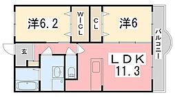 兵庫県姫路市阿保乙の賃貸マンションの間取り