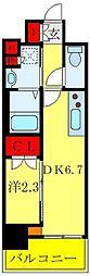 リアンシエルブルー田端 7階1DKの間取り