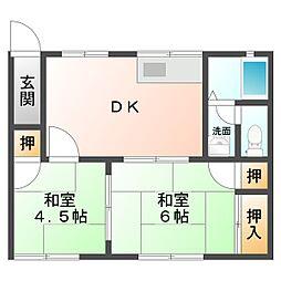 田町アパート[1階東側号室]の間取り