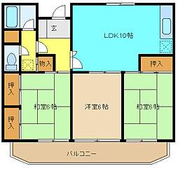 埼玉県さいたま市中央区円阿弥3丁目の賃貸マンションの間取り