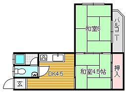 大阪府茨木市下穂積3丁目の賃貸マンションの間取り