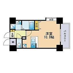 キルンズ西新 5階ワンルームの間取り