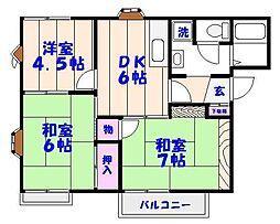 平松ハイツB棟[2階]の間取り