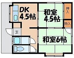 石田荘 北[1階]の間取り