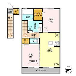 仮)D-room下貝塚[202号室]の間取り
