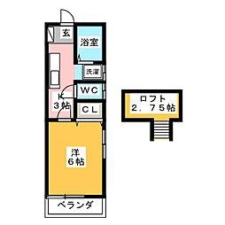 静岡県静岡市駿河区馬渕1丁目の賃貸アパートの間取り