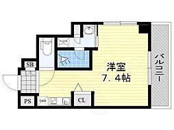 阪急京都本線 南茨木駅 徒歩3分の賃貸マンション 9階ワンルームの間取り