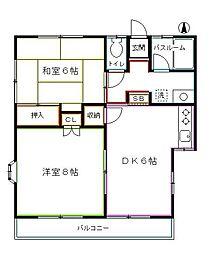 東京都国分寺市西元町1丁目の賃貸アパートの間取り