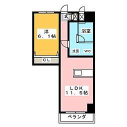 SK'BUILDING-8 7階1LDKの間取り