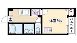 愛知県名古屋市南区内田橋2丁目の賃貸アパートの間取り