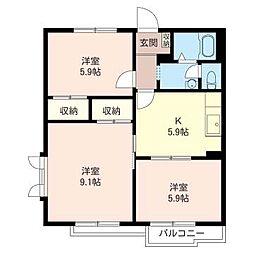 リバーシティー92 A[2階]の間取り