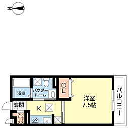 フロントハウスB棟 1階1Kの間取り