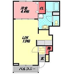 Osaka Metro谷町線 大日駅 徒歩13分の賃貸アパート 1階1LDKの間取り
