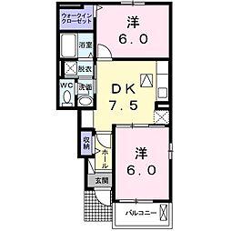 岡山県赤磐市下市の賃貸アパートの間取り
