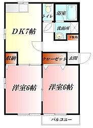 埼玉県熊谷市石原3丁目の賃貸アパートの間取り