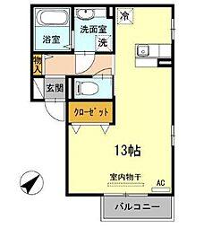 広島県福山市引野町3丁目の賃貸アパートの間取り