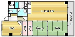 南茨木駅前ハイタウンH棟[9階]の間取り