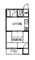 ライブオークサカモト[201号室]の間取り