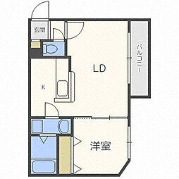 札幌市営南北線 麻生駅 徒歩6分の賃貸マンション 4階1LDKの間取り