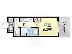 Osaka Metro御堂筋線 西中島南方駅 徒歩11分の賃貸マンション 2階1Kの間取り