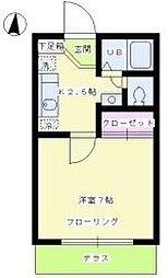 東京都大田区北千束1丁目の賃貸アパートの間取り