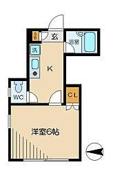 東京都目黒区中根2丁目の賃貸アパートの間取り