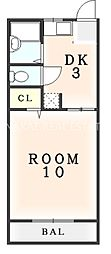 水口マンション[203号室]の間取り