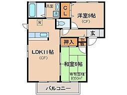 京都府京都市山科区勧修寺御所内町の賃貸アパートの間取り