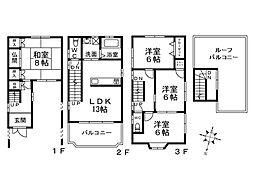 [一戸建] 大阪府堺市西区上野芝町4丁 の賃貸【/】の間取り