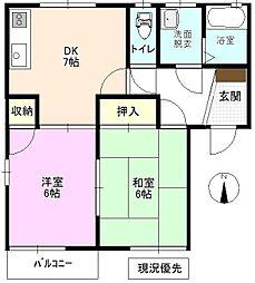長野県長野市篠ノ井二ツ柳の賃貸アパートの間取り