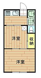 神奈川県川崎市中原区上小田中5丁目の賃貸アパートの間取り