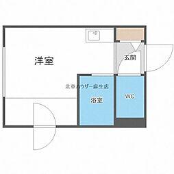 ゲストハウス花川 2階ワンルームの間取り
