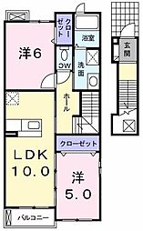 大阪府河内長野市向野町の賃貸アパートの間取り