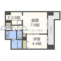 レジディア 札幌駅前 14階1LDKの間取り
