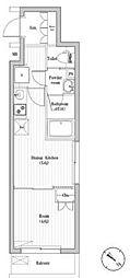 都営三田線 巣鴨駅 徒歩10分の賃貸マンション 2階1DKの間取り